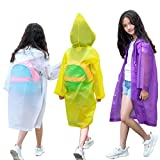 NA VOJACO Rain Poncho, (3 Pack) Kids Rain Coat, Clear Raincoat, Emergency EVA Reusable Portable and Waterproof Hooded Rain Coats Outdoor Rainwear Jacket Packable, for 6-12 Years Children Boys Girls