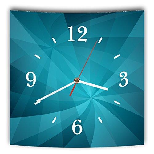 Homeyourself LAUTLOSE Designer Wanduhr mit Spruch Blau Abstrakt modern grau weiß modern Dekoschild Abstrakt Bild 29,5 x 28cm