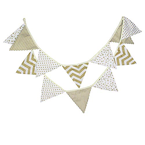 G2PLUS 10.8 Feet Floral Bunting Banner, Vintage Cloth Shabby Chic Flag Garlands, Gold and White Double Sided Fabric Triangle Pennants for Birthday Parties Ceremonies Kitchen Bedrooms