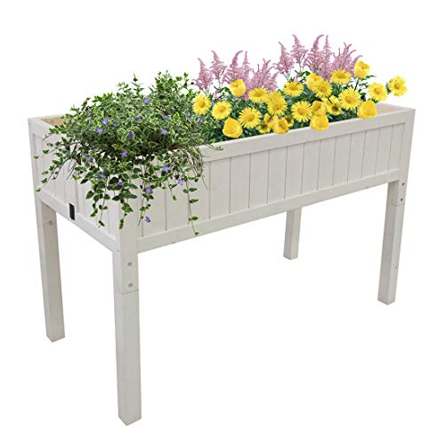 Outdoor Easy Assembly Raised Patio Garden Bed Elevated Planter Wood High \u0026amp; Low Flower Box White (45.5\u0026quot; X 20\u0026quot;)