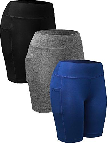 Neleus Women's Running Compression Shorts with Pocket,9005,3 Pack,Black,Grey,Blue,US XL,EU 2XL