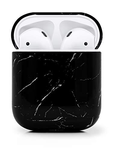 MyGadget Custodia in Plastica rigida Cover per Airpods Apple 1 e 2 Generazione - Case Protettiva per Cuffie Auricolari - Skin in Nero Marmo
