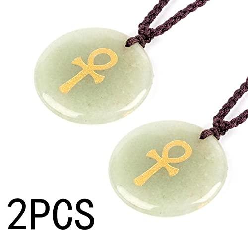 XIAOLONG Collar con Colgante de Cruz para Mujer, Piedra de Cristal Natural, Cruz ortodoxa, Reiki, Estilo Egipcio,joyería para Hombres, Bruja