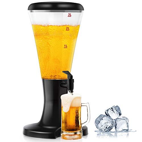 GOPLUS Zapfsäule Bierspender Biersäule Biertower Trinksäule Getränkesäule Getränkespender, mit Kühlröhreund LED Beleuchtung, aus Kunststoff, schwarz, 3L