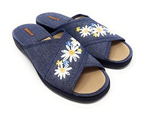ZAPATILLAS DE CASA DEVALVERDE 1508 FLORAL MARINO.Zapatillas para mujer muy comodas y flexibles. (MARINO, 38 EU, numeric_38)