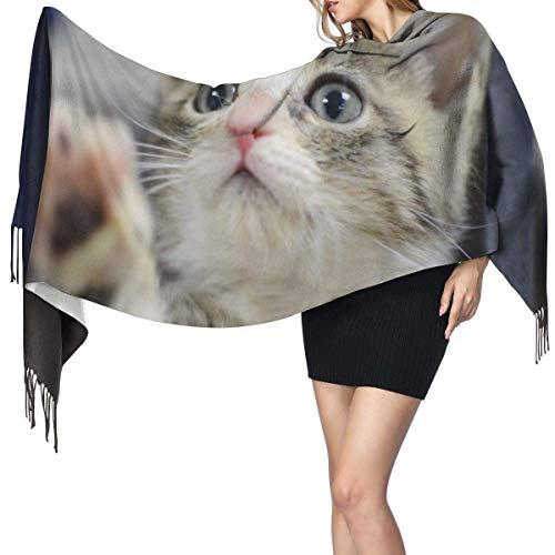 Bufanda de mantón Mujer Chales para, Gato Moda para mujer Chal largo Invierno Cálido Bufanda grande Bufanda de cachemira