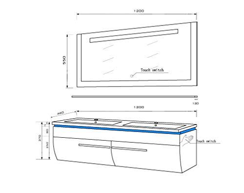 Badmöbel Doppelwaschbecken Set Weiß Bild 2*