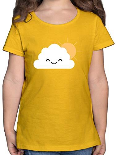 Karneval & Fasching Kinder - Wolke Karneval Kostüm - 164 (14/15 Jahre) - Gelb - Kinder kostüm grün - F131K - Mädchen Kinder T-Shirt