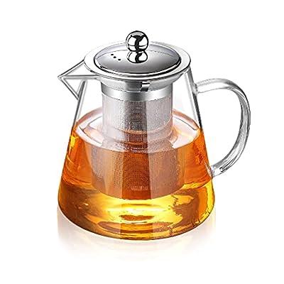 Glass Teapot with Infuser Tea Pot 32oz/43oz Tea Kettle Stovetop Safe Blooming and Loose Leaf Tea Maker Set (1300ml/43oz)