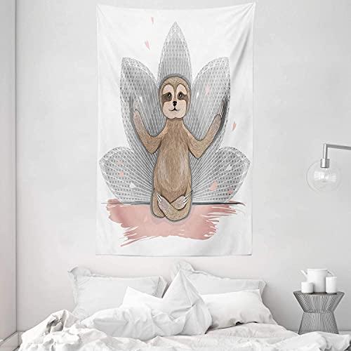 Alittle Sloth Tapestry Pequeño pequeño perezoso lindo Meditación Flor de loto Yoga Posiciones de asana Motivacional Fun Tela de pared colgante para la sala dormitorio Dorm 54 W x 90 L Rosa Marrón Gris