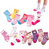 XM-Amigo 15 pares de calcetines de algodón para niñas y niñas, colores de hadas, helados, rosquillas, pequeñas y pequeñas, de algodón
