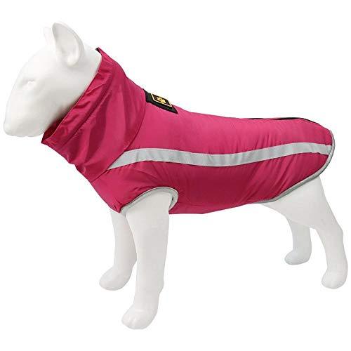 QKEMM Abrigo de Invierno con Capucha para Perro Chaqueta Reflectante Perro Mediano Ropa para Grande Mascotas Perritos Rosa Roja 3XL