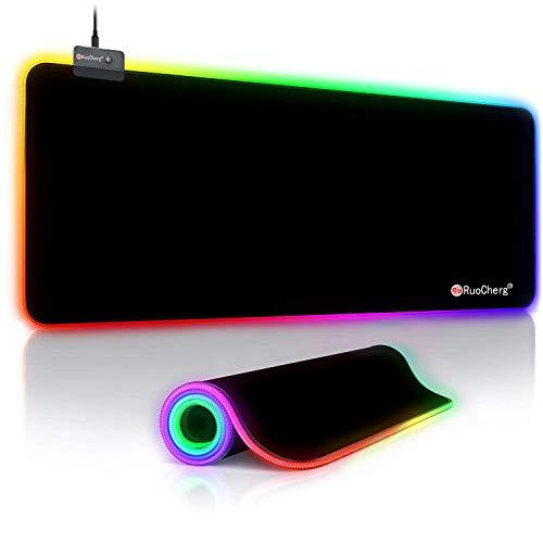Alfombrilla de Ratón RGB Extra Grande, Ordenador Extended XL Alfombrilla Gaming de Microfibras con Luces, Base de Goma Antideslizante para Gamers, PC y Portátil (80 x 30cm)