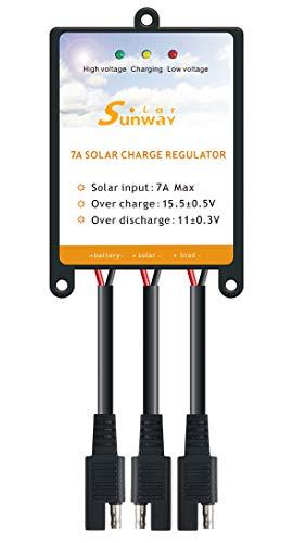 Sunway Solar Panels Charge Controller 12V Battery Regulator 7A for Safe Protection of 12Volt Solar Power Battery Charger, Solar Trickle Charger & Maintainer and Solar Powered System Kit
