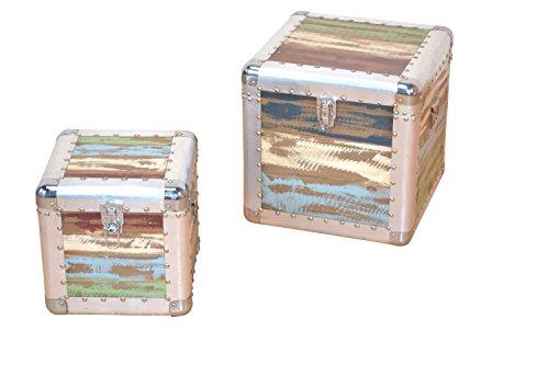 Sitztruhe - Vintage Hocker Set 2 Stück - aus Holz