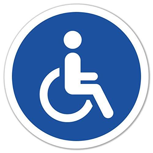 5 Stück Behinderten Aufkleber Rollstuhl Autoaufkleber 9,5 x 9,5cm Behindertenschild Rollstuhlfahrer WC Türaufkleber
