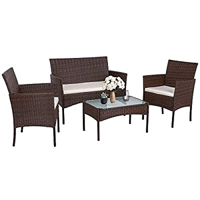 Walsunny 4 Pieces Outdoor Patio Furniture Sets Rattan Chair Wicker Set,Outdoor Indoor Use Backyard Porch Garden Poolside Balcony Furniture?Brown?