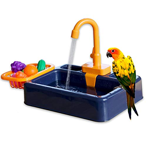 Vogelbadewanne, Papageien, Pool, Badewanne, Vogelfutterstation, automatische Haustier-Badewanne mit Wasserhahn, Vogeldusche, Badewanne (Königsblau)