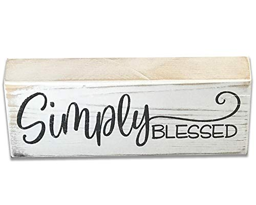 Farmhouse Decor Rusticly Inspired Signs Simply Blessed Wood Sign Shelf Decor Inspirational Cottage Chic Block Sign