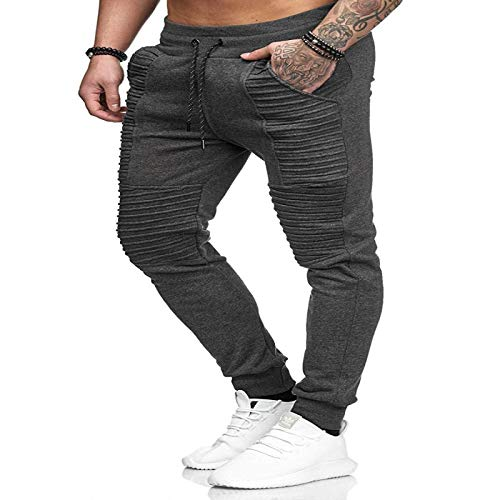 Men's Pants Casual Sports Pants Drawstring Solid Color Pleated Trousers Hip-hop Striped Fitness Pants, with Pocket XXL Dark Gray