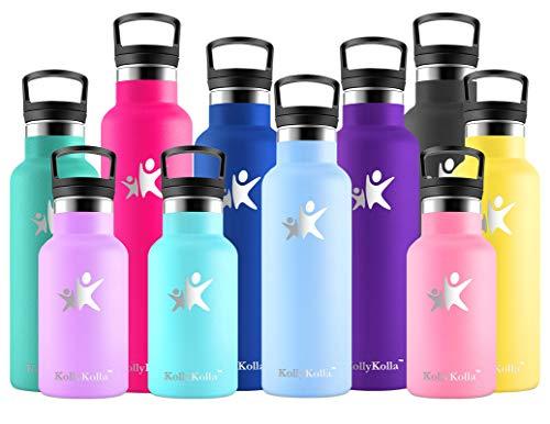 KollyKolla Botella de Agua Acero Inoxidable, Termo Sin BPA Ecológica Reutilizable, Botella Termica con Pajita y Filtro, Water Bottle para Niños & Adultos, Deporte, Oficina (500ml Macaron Azul)