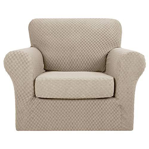MAXIJIN 2 fundas para sillas Jacquard con reposabrazos, funda antideslizante elástica para perros y salones (1 plaza, caqui)