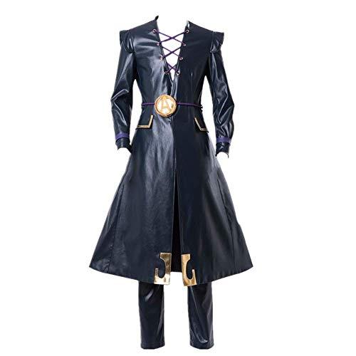 ULLAA 5PCS Anime Jojos bizarres Abenteuer Leone Abbacchio Halloween Karneval Cosplay Kostüm Outfit Kunstleder Windbreaker Mantel Uniform Anzüge Plus Size und Perücke