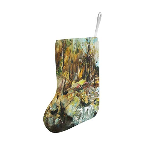 InterestPrint Christmas Stocking for Home Fireplace Decoration Rocks and Stream Oil Painting