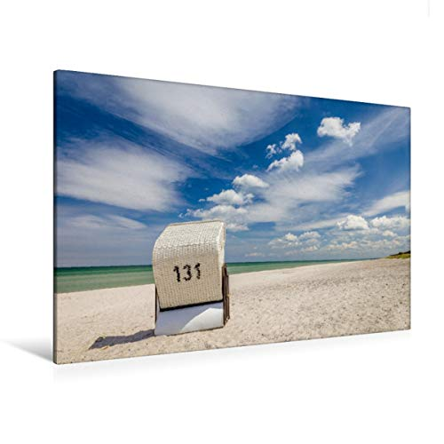 Premium Textil-Leinwand 120 x 80 cm Quer-Format Einsamer Strandkorb am Strand auf Zingst | Wandbild, HD-Bild auf Keilrahmen, Fertigbild auf hochwertigem Vlies, Leinwanddruck von Christian Müringer