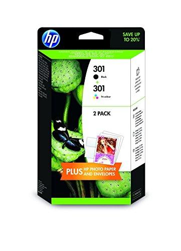 HP 301 - 2 Cartucce d'Inchiostro, 5 Fogli di carta HP Advanced Photo Paper 13x18, Nero/Tricromia