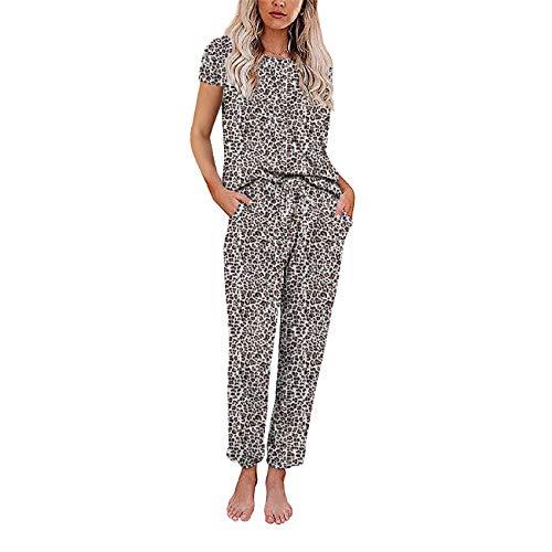 Ropa Exterior Traje De Casa Mujer OtoñO E Invierno Pantalones De Manga Corta con Estampado Tie-Dye Pijamas Divididos