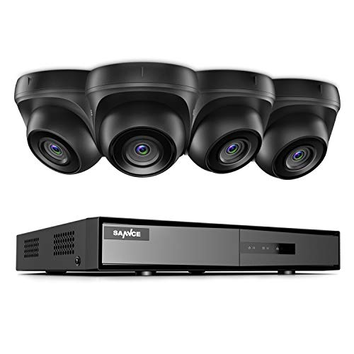 Sannce TVI 1080N - Kit de cámaras de seguridad Dome de 8canales para red digital CCTV DVR, HDMI P2P, 1T HDD, 4 camere