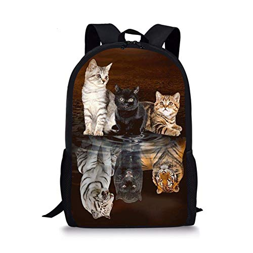 Nopersonality Kids Backpack Small Cat Tiger Animal Print School Book Bag for Boys Girls School Travel Shoulder Rucksack Bookbags