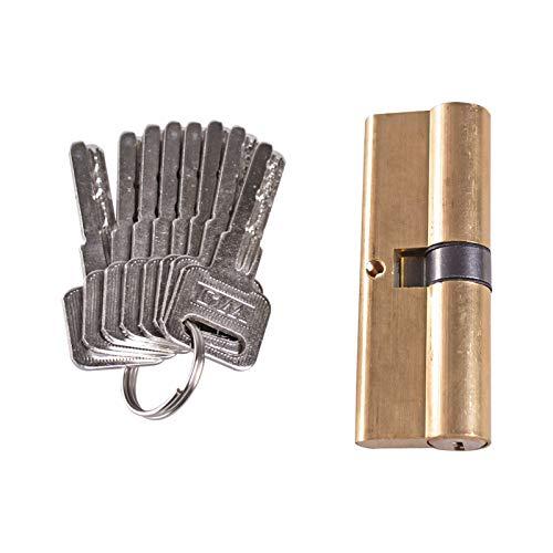 SXCXYG Bombin Cerradura Encienda el Pulgar Perfil Europeo Cilindro Cilindro de Cierre de latón níquel Acabado Satinado 85mm de 8 Teclas Cerraduras Antibumping (Cylinder Size : 85mm)