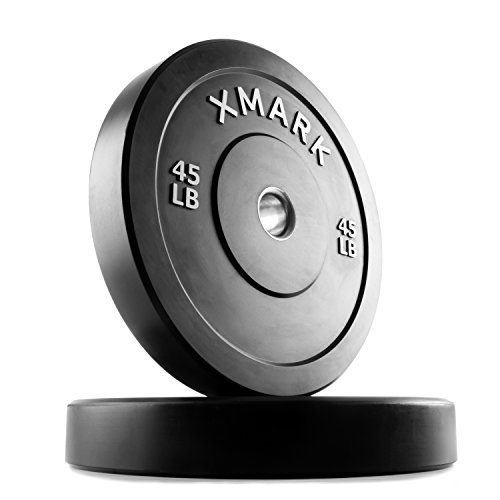 XMark 45 lb Pair Premium Bumper Plates, Three-Year Warranty, Low Bounce Olympic Bumper Weight Plates , XM-3385