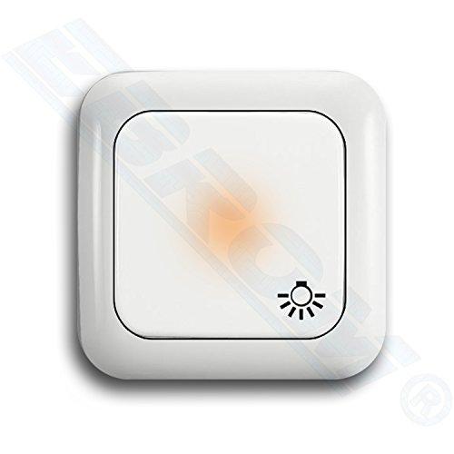 Busch Jäger SET Licht- Tastschalter permanent beleuchtet (2020 USGL Orientierungslicht mittig) mit Symbol Licht + 1fach Rahmen - Treppenhauslicht - alpinweiß - Reflex SI