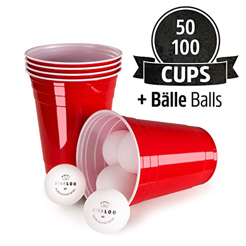 Vivaloo - Gobelets Rouges (x100) - Beer Pong Party Cups Americain - Fête, Vaisselle Jetable - 473ml