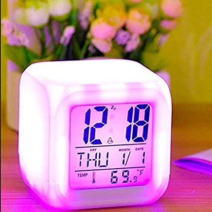 Yupzob Smart Digital Alarm Clock for Bedroom, Heavy Sleepers, Square 7-Colour LED Changing Digital Alarm Clock with Snooze and Large Display White(Multicolour)