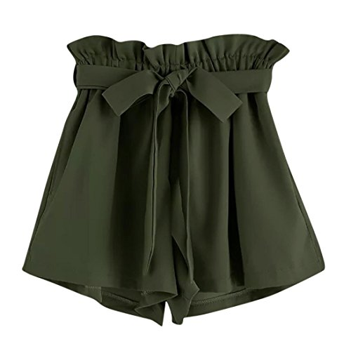 ZARU Damen Casual Shorts, Sommer Einfarbig Kurze Hose Elastische Taillen Taschen Kurzschluss-Hosen mit Tunnelzug, Retro-Sti Weite Bein Shorts (L, Grün)