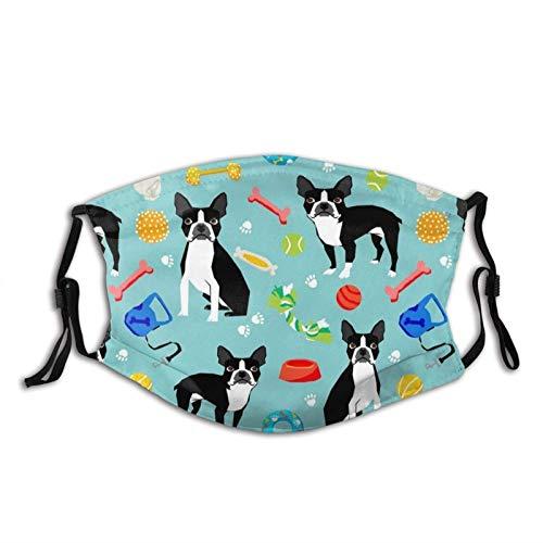 Boston Terrier Toys Dog Mask Balaclava Reusable Washable Anti-Dust Mouth Bandanas with 2 Pcs Filters