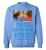 Custom Hoodies design your own front and back Text Image, Custom Hoodie Design Your Own Sweatshirts Men& Women (Sweatshirt/Carolina Blue)