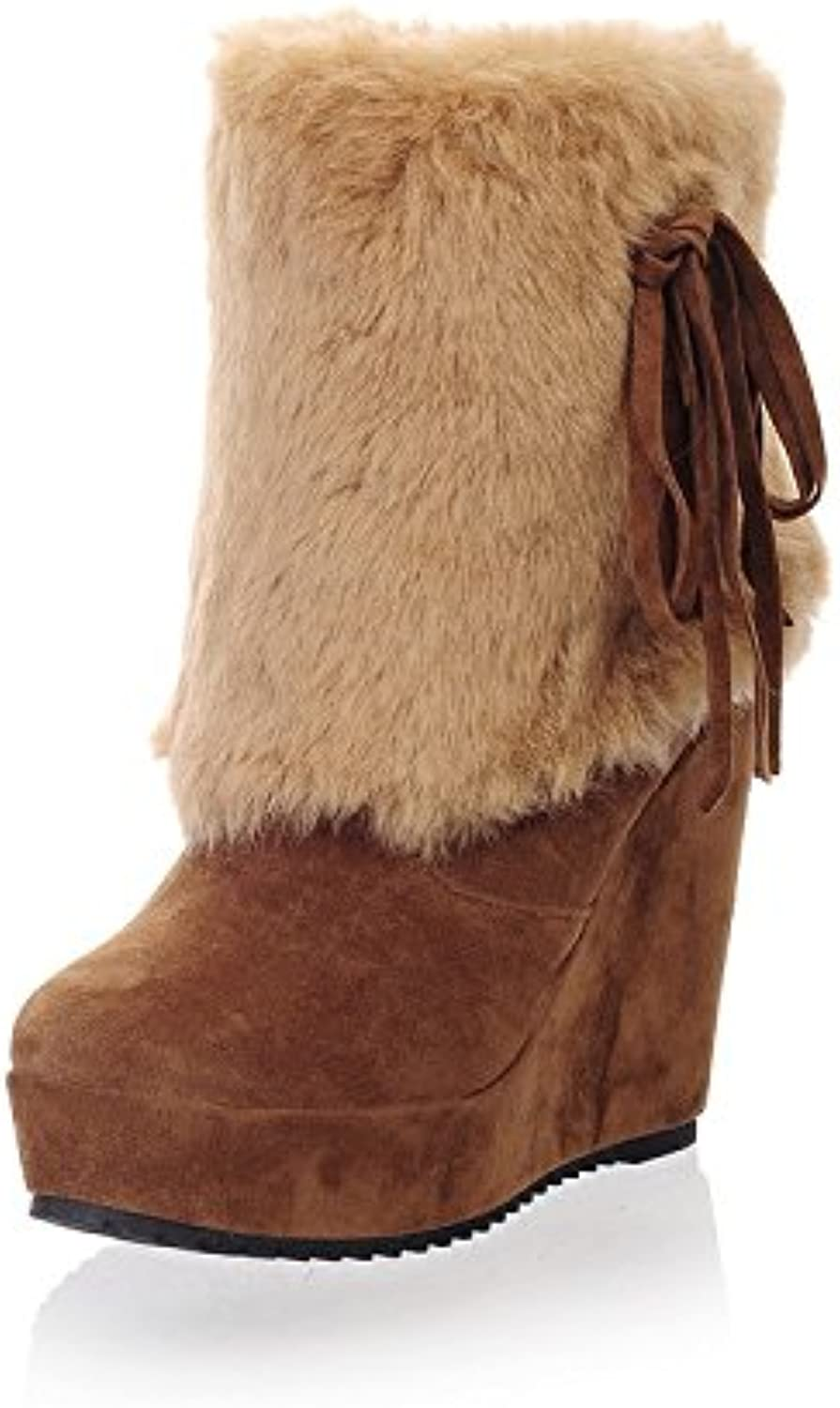 Top Shishang Autumn Winter Wedges high-Heeled Snow Boots Women's Platform Warmth Lined Middle Waist Calf Boots