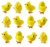ITISMINE 12 Pieces Wind Up Easter Chicks Wind-Up Jumping Chicken Plush Toys Novelty Toys for Party Favors