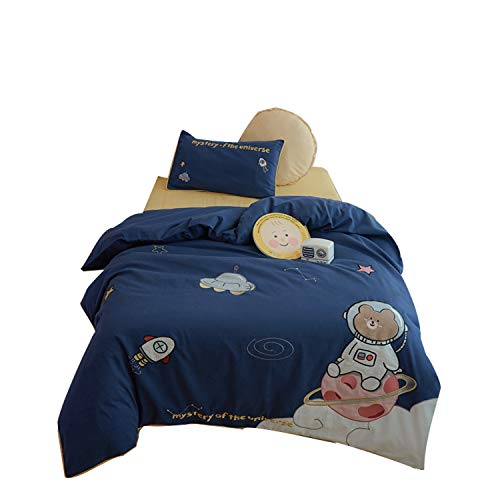 XSJ-home Kinderbettwäscheset 100% Baumwolle - Cartoon-Bettwäscheset Single - Kindersteppdecke Teen - Tröster-Set Soft-Bed-in-a-Bag Jungen Mädchen,Multi Colored,4 inch