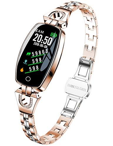 Smartwatch Donna Oro Rosa Braccialetto Donna Acciaio Fitness Tracker Orologio Fitness Impermeabile Orologio Mobile Hd Touch Screen