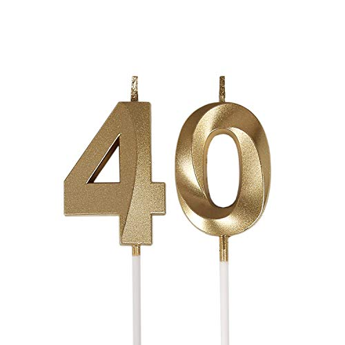 Bailym 40th Birthday Candles,Gold Number 40 Cake Topper for Birthday Decorations Party Decoration