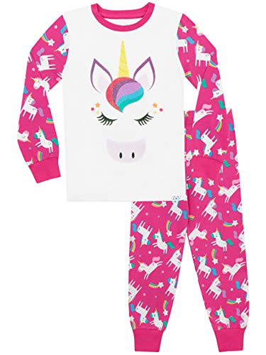 Harry Bear - Ensemble De Pyjamas Bien Ajusté - Licorne pailletée Arc-en-Ciel - Fille - Multicolore - 7-8 Ans