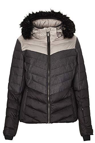 killtec Skijacke Damen Brinley - Winterjacke Damen - Damenjacke sportlich mit Skipasstasche - warme Jacke für den Winter - wasserdicht, schwarz, 38
