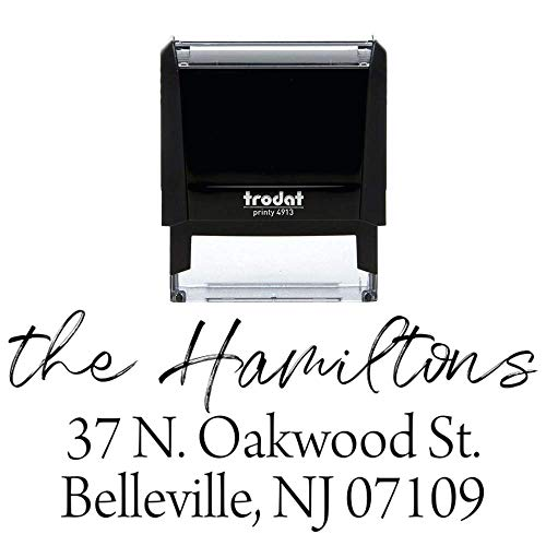 Custom Self Inking Address Stamp - Personalized Return Address Stamp - 8 Ink Colors Available - Hand Lettered Brush Script