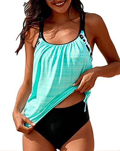 Minetom Tankini Damen Bauchweg Bademode Set Zweiteilig Push up mit Einstellbarer Badeanzug Bikini Set Strand Schwimmanzug Blau L
